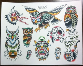Owls: Traditional Tattoo Flash Sheet