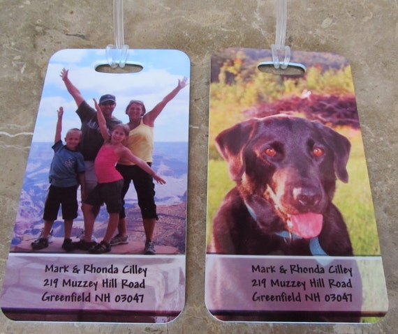 """Personalized Travel Luggage Bag Tags with your photo/logo, text and address.  Large 5.5"""" x 3"""""""