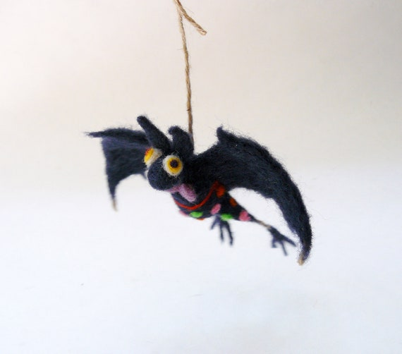 Reserved for Karen :) SALE 20% Black Bat With A Purple Tie - Halloween Decoration - Needle Felted.