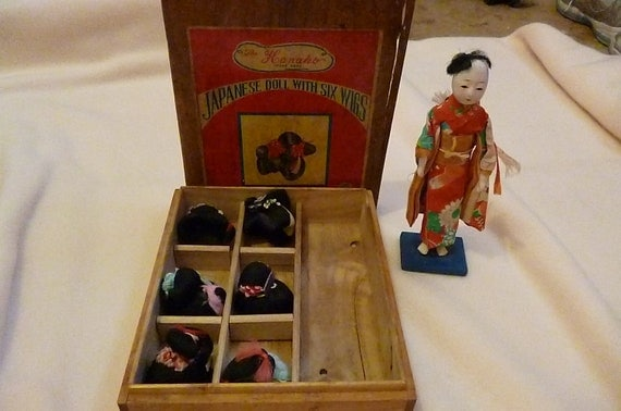 Reserved for kasparkarlovsky - Antique Vintage Pre- WW2 Era Geisha Doll with six human hair wigs in original box The Hanako