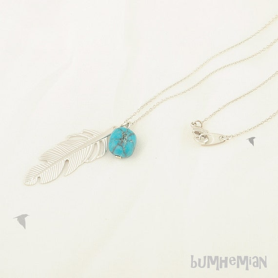 SALE/ Price Reduced 14 - Old Price 18 -- Super Thin Cable Chain with Feather Pendant, Rounded Turquoise Cube, Long, Necklace