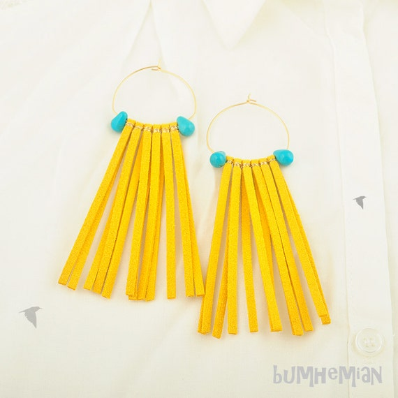 Gypsy, Yellow Ultra Suede Wire Wrapped, Turquoise Teardrops, Hoops, Earrings
