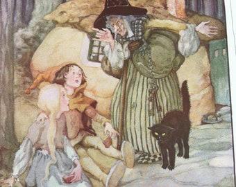 Vintage Art Nouveau Illustration Anne Anderson Hansel & Gretel 1935