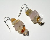 "1"" Citrine &  Rose Quartz  Earrings"