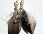 "5"" Citrine & Rose Quartz Feathered Earrings"