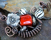Womens Necklace Wire Wrapped Copper  Kazuri Beads  Red Black White