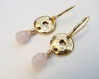 Rose quartz teardrop earrings, bridesmaids earrings, gemstone earrings, handmade jewelry, teardrop briolette earrings