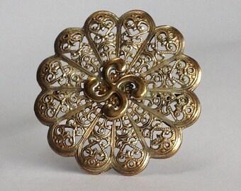Silver Filigree Vintage Brooch Czech Style Pin
