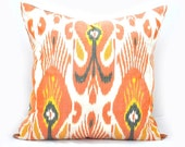 18 x18 inch Orange and white ikat Pillow cover(Shipping from London,UK).