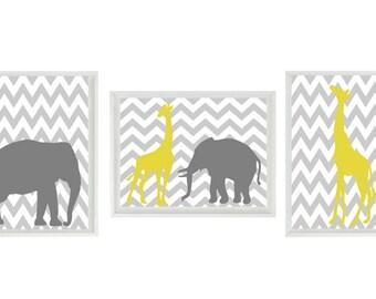 Elephant Giraffe Chevron Nursery Wall Art Print - Yellow Gray Decor - Children Kid Baby - Wall Art Home Decor Set   Prints