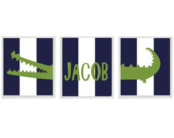 Alligator Nursery Wall Art Print Set ()  - Preppy Navy Blue Stripes Madras Gator - Name Children Kid Baby Boy Room - Home Decor