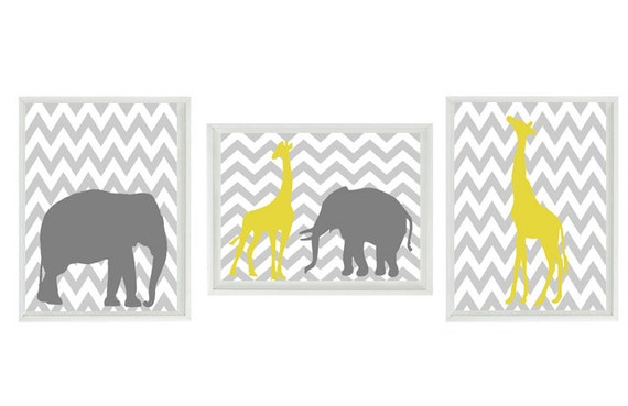 Elephant Giraffe Chevron Nursery Wall Art Print - Yellow Gray Decor - Children Kid Baby - Wall Art Home Decor Set   Prints
