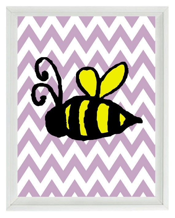 Bumble bee chevron nursery wall art print children kid baby for Bumble bee mural