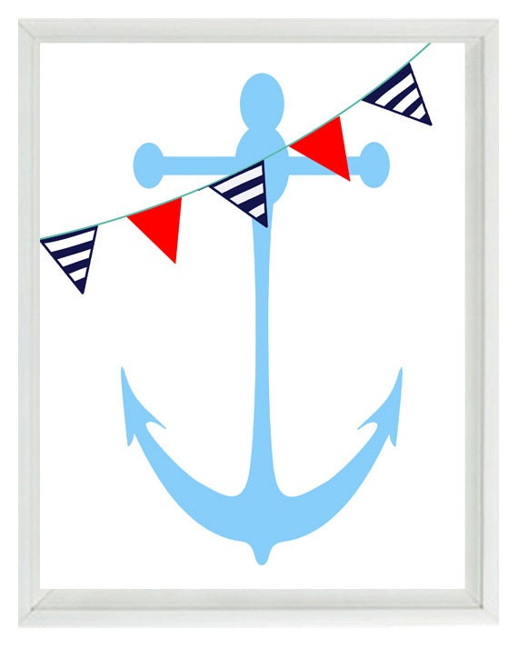 Blue Anchor Wall Decor : Nautical nursery anchor wall art print navy blue red white