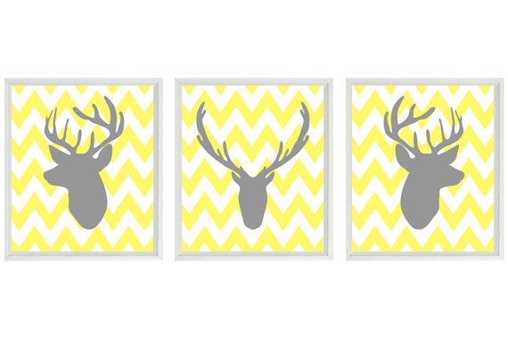 Deer Wall Art Print Silhouette Gray Yellow By Rizzleandrugee