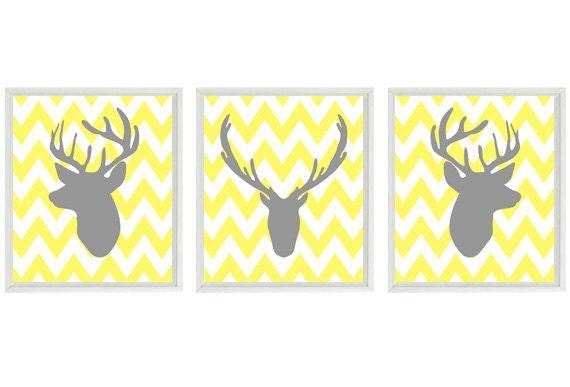 Deer Wall Art Print Silhouette Gray Yellow Chevron Decor Buck Antlers Rustic Nature Wildlife