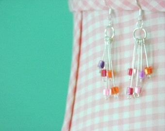 Miyuki Beaded Dangle Earrings / Free Ship
