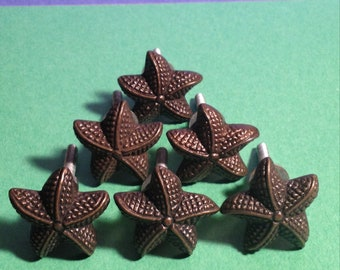 DRAWER PULLS Lot Of 6 Cast Iron Starfish Looking  Drawer Or Cabinet Pulls