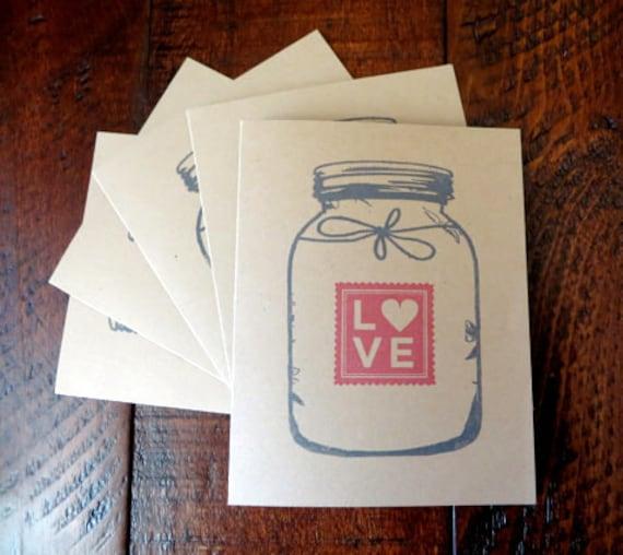 Kraft Mason Jar Ball Jar LOVE Note Cards. Stationery. Stationary. Hand Stamped Set of 5