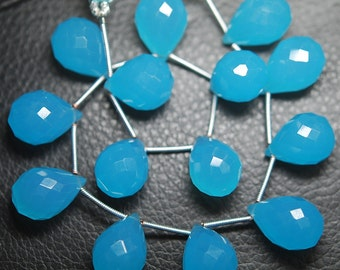 8 Inch Strand, Full Strand,Swiss Blue Quartz Micro Faceted Tear Drops Shape Briolettes 15-16mm
