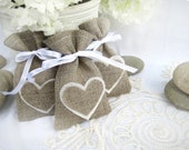 Set of 200 Wedding favor bags- Natural Rustic Linen Wedding Favor Bag with hearts or Candy Buffet Bag or Gift Bag