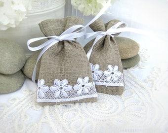 Set of 150 -Natural Rustic Linen Wedding Favor Bag or Candy Buffet Bag or Gift Bag