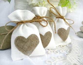 Set of 100-Wedding favor bags - White Rustic Linen Wedding Favor Bag with natural linen hearts or Candy Buffet Bag or Gift Bag