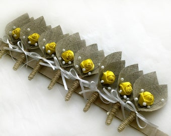 Set of 8- Yellow Flower burlap Boutonniere Wedding Boutonniere-groom boutonniere