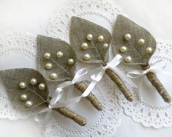 Set of 4-Ivory  sprig pearl burlap Boutonniere