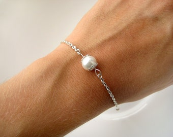 Set of 10-Pearl Bridesmaid Bracelet, Custom Pearl Color, Pearl Bridesmaid Jewelry, Bridesmaid Bracelets, Bridesmaid Pearl Bracelets