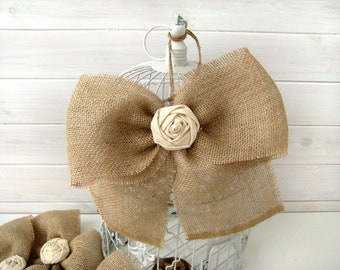 NEW Burlap Bow Rustic Wedding Fabric Rose Set of 2 Pew Bows  Aisle Decor on chairs or bench