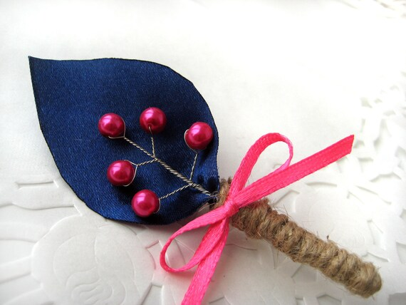 Groom's Boutonniere for Wedding Rustic Bout with Raspberry Pink pearls-NAVY BLUE & Raspberry Pink