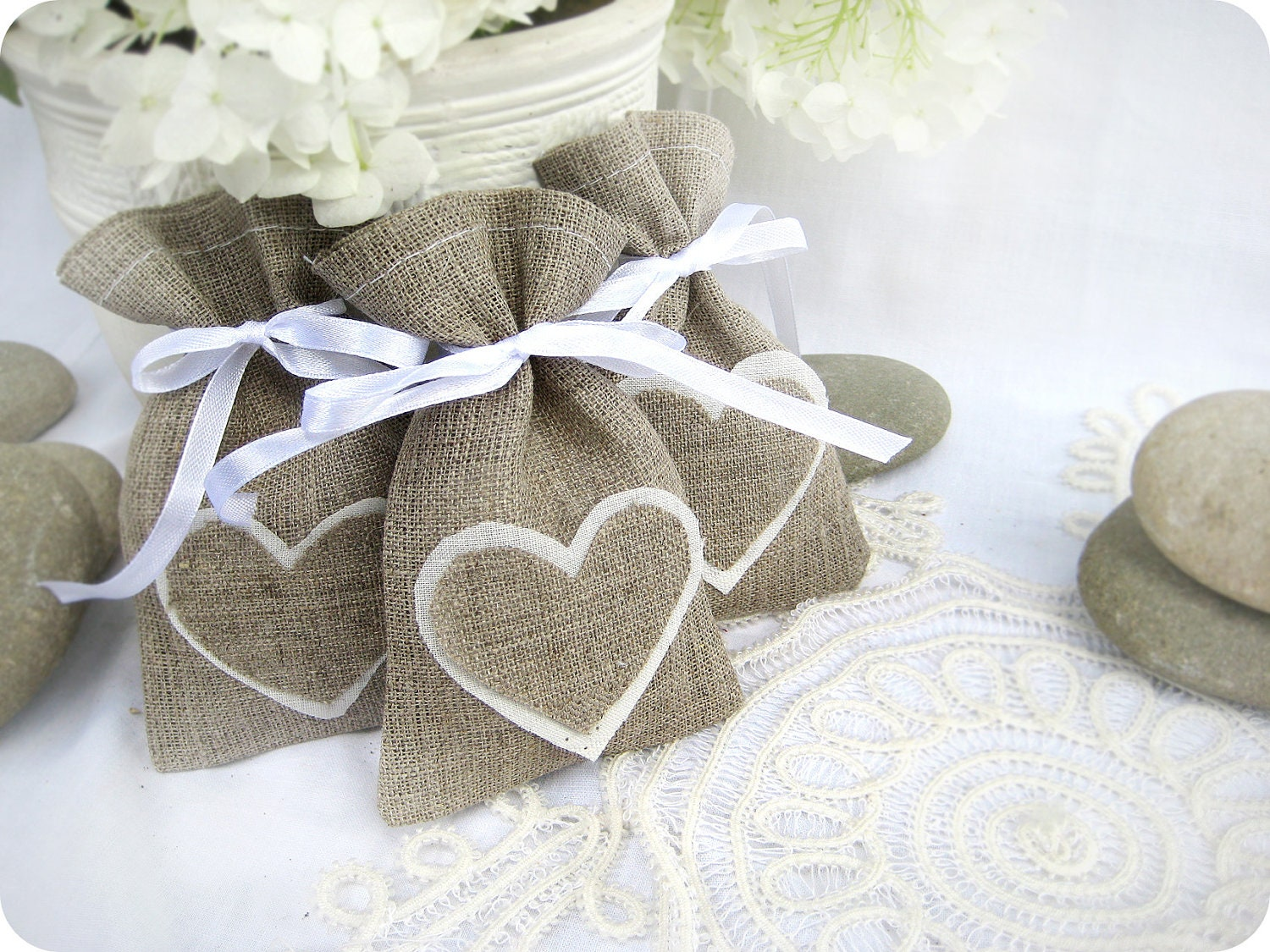 Wedding Gift Bags For Candy : Set of 100 Wedding favor bags Natural Rustic Linen Wedding