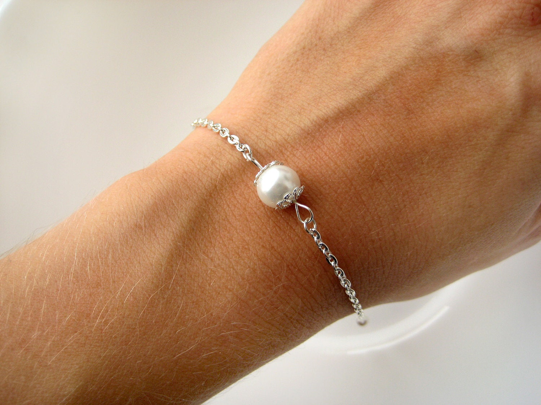 Minimalist Pearl Bracelet Custom Pearl Color Pearl