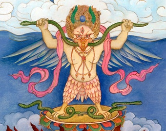 Eagle Deity Garuda, Protector, Enemy to the Serpent Race, Snake,