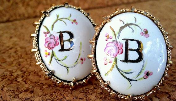 Vintage Ladies Monogram Porcelain Cuff Links Hand Painted Floral Letter B