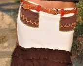 On hold for Veronica Snowy creamy white skirt  Pixie fairy style Boho sexy sweater skirt with brown accents