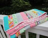 Modern Striped Baby Girl Quilt - Pretty In Pink