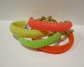 NEON colors bracelet- plastic lacing mixed with metal chain (YOUR CHOICE)