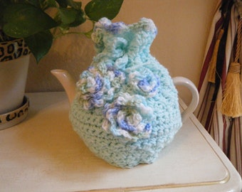 Crochet Teapot cosy in shades of blue and green