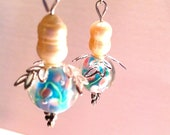 Pearly and Blue Pixie Earrings