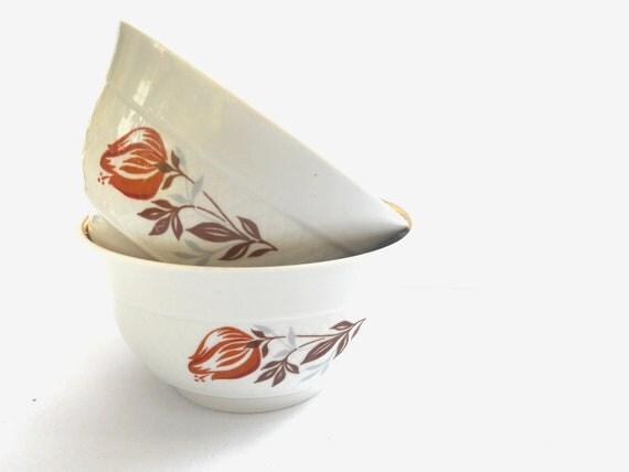 Set of 2 porcelain bowls from Soviet era 1980s Retro kitchen decor