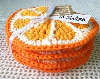 Sliced Orange Coasters, Set of Four