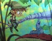 Poster Elf with Caterpillar Digital Painting