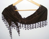 pashmina scarves,chocolate brown,pashmina fabric scarf with lace,women scarves,gift ideas,for her,scarf trends,lace scarf,valentine day