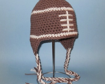 Football Earflap Hat. (Any Sizes: Newborn to Adult). Please send the size.