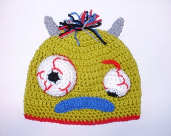 Green Monster Hat. Beanie. (Any Sizes: Newborn to Adult). Please send the size.