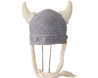 Crochet Pattern PDF Viking Hat. Beanie and with Braids. (All Sizes Included: Newborn to Adult). Permission to sell finished items.