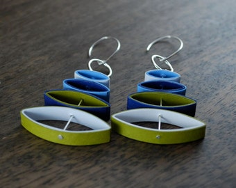 1st Anniversary Earrings / Paper Anniversary Gift for Her / Lightweight Earrings / Eco Friendly Jewelry / 1st Anniversary Gift - Mobi
