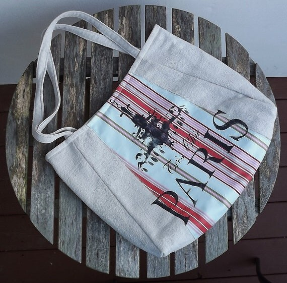 JOLEE:  handpainted FEEDSACK TOTE - vintage European looking tote with stripe by Eurocentrics